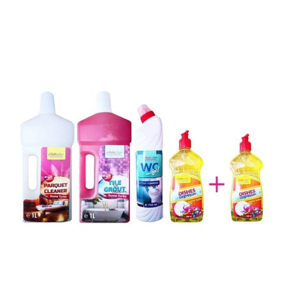 Pachet promotional pentru casa Guma Turbo Detergent Parchet 1 L, Detergent Gresie si faianta 1 L, Solutie WC Gel 750 ml, Detergent de vase 500 ml + 1 Detergent vase 500 ml cadou