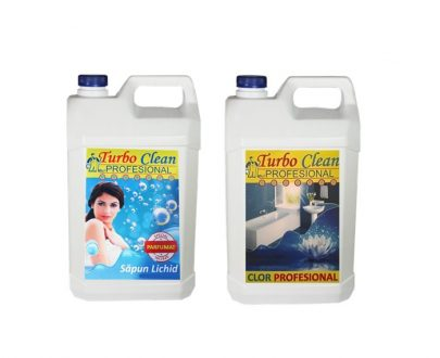 Pachet promo Sapun Lichid Ingienizant si Clor Turbo Clean Profesional 5L